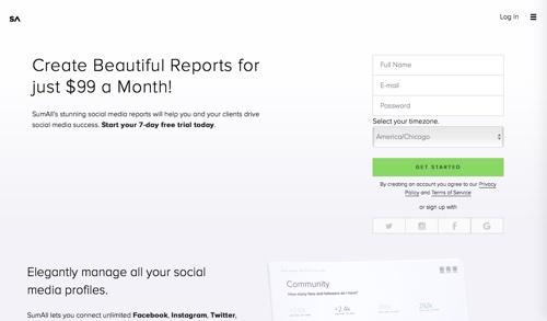 Công cụ SumAll để quản lý fanpage trên facebook
